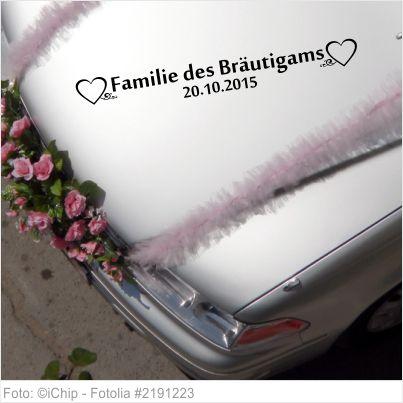 Autoaufkleber Hochzeit - Familie des Bräutigams mit Datum