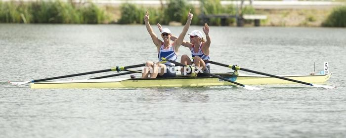 Team GB rowers Katherine Grainger and Anna Watkins celebrate winning the Gold medal in the Women's Double Sculls at Eaton Dorney during the London 2012 Olympic Games.