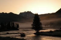 Sunrise over Yellowstone National Park.