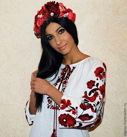 """Блузки ручной работы. Ярмарка Мастеров - ручная работа. Купить Вышитая блуза туника вышиванка """"Красные птички"""" красная ручная вышивка. Handmade."""