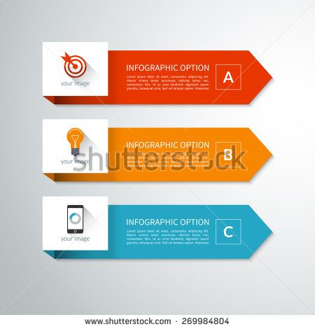 Modern minimal arrow elements for business infographics. Material style. Vector illustration. Can be used for workflow layout, brochure, diagram, chart, number and step up options, web design