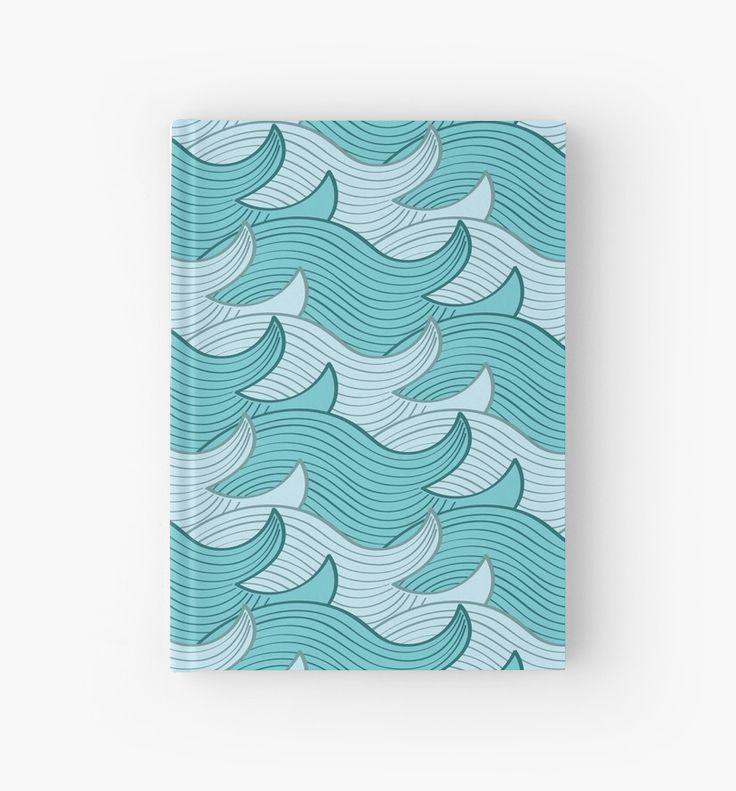 California Surf Wave Pattern Illustration by Gordon White | California Surf Closed Hardcover Journal Available @redbubble --------------------------- #redbubble #stickers #california #losangeles #la #surf #wave #cute #adorable #hardcover #journal #pattern