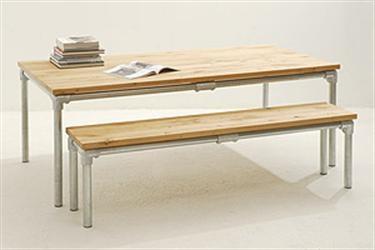 Grote foto design tafel steigerbuis onderstel woning inrichting tafels