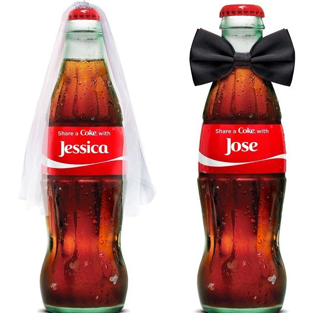 Customize cute bottles @thecocacolaco with #shareacoke for the #bride and #groom!  -@naimalist