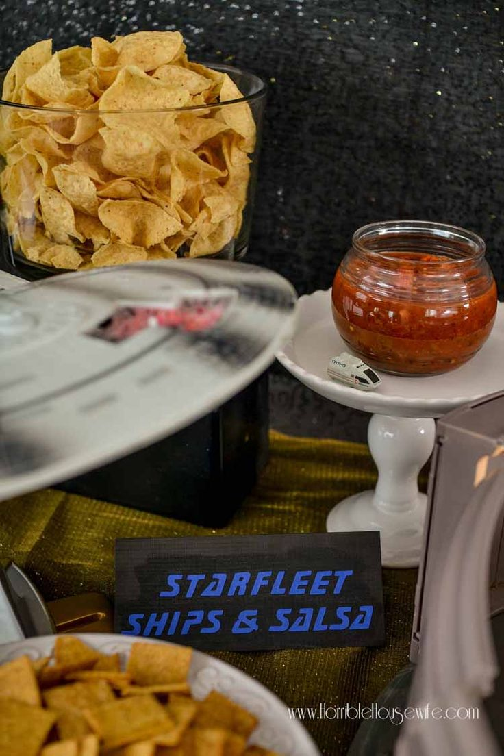 Star Trek: The Next Generation party food- Starfleet ships and salsa