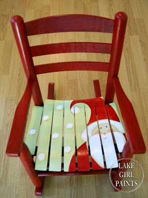 Oh my goodness....how cute is this painted Santa chair! by Lake Girl Paints