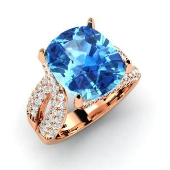 Cushion-Cut Blue Topaz Ring in 14k Rose Gold with SI Diamond