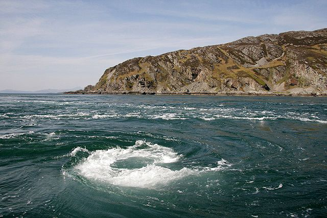 The Strait of Corryvreckan, is a narrow passage between the islands of Jura and Scarba off the west coast of Scotland. It contains the third largest whirlpool in the world