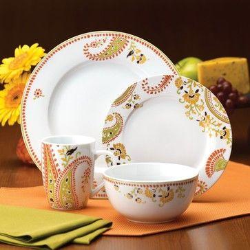 Rachael Ray Paisley Dinnerware - Set of 4 - 58216 contemporary-dinnerware-sets