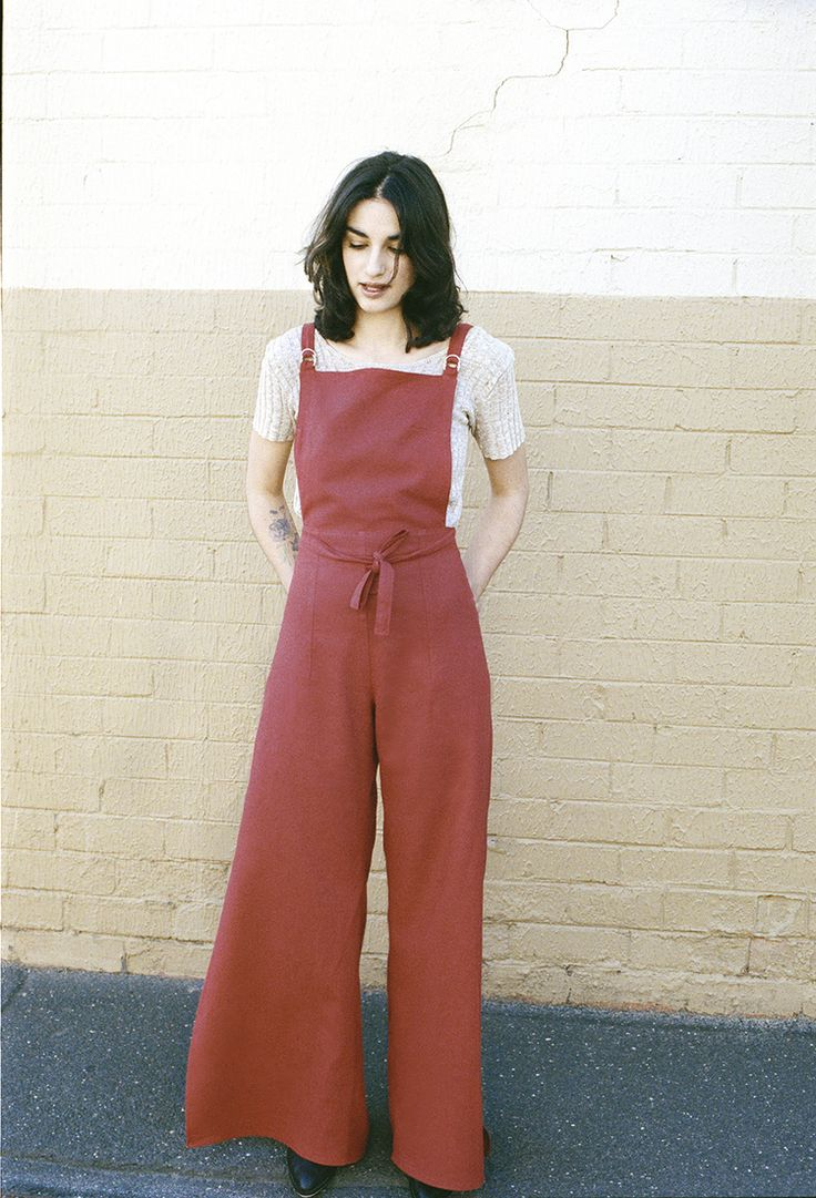 CAVES COLLECT long wrap overalls in cherry red linen.