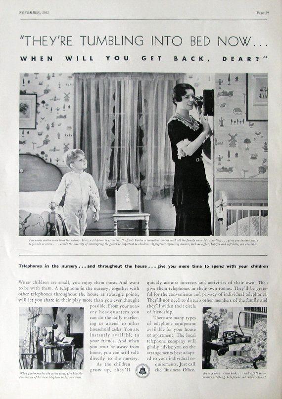 1931 AT&T Bell System Phone Advertisement - 1930s Nursery, Children's Bedroom Decor
