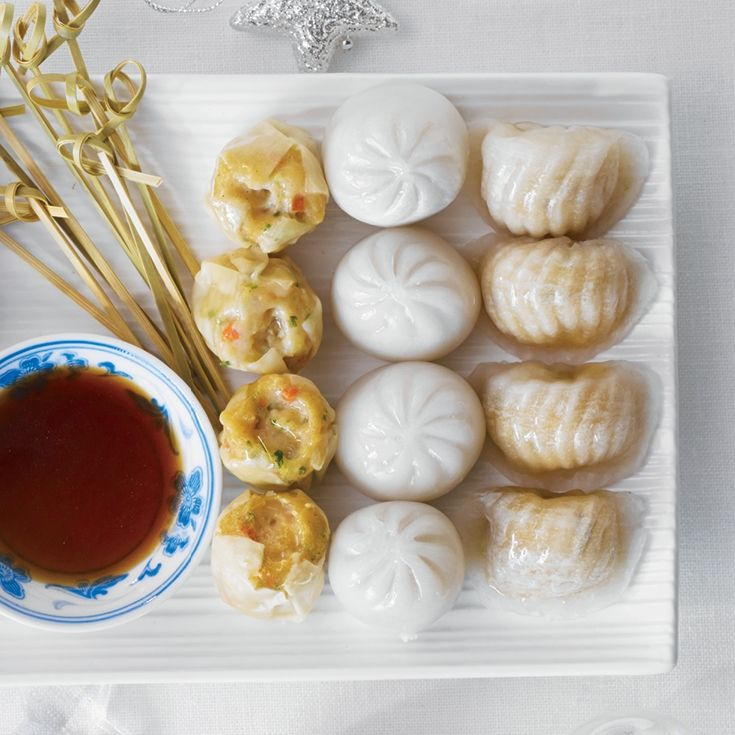 Here's something new for the holidays: Asian-inspired dim sum appetizers complete with sesame-soy dipping sauce. Ready in just 15 mins! #EasyEntertaining #MustTry