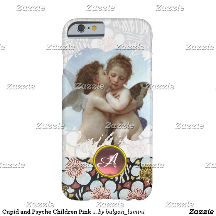 Cupid and Psyche Children Pink Gemstone Monogram Barely There iPhone 6 Case #beauty #lovers #love #angels #fineart #flower
