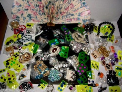 Junk-Drawer-Jewelry-Vintage-Costume-Necklaces-Earrings-Pins-MIXED-LOT
