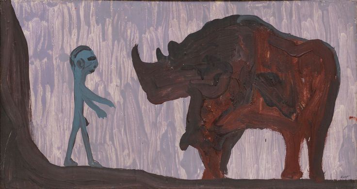 1967, A.R. Penck,Nashorn (Rhinoceros), Latex paint on masonite. Courtesy Michael Werner gallery, NY and London.