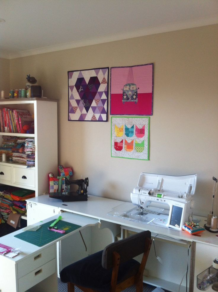 Mini quilts make my sewing room look creative. My fav room in the house.