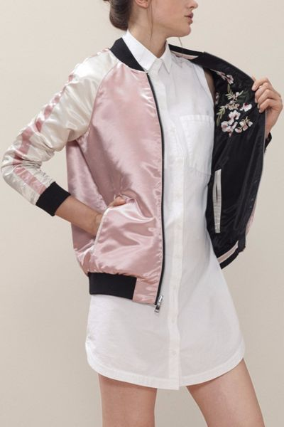 Floral embroidered bomber jacket reversible satin black and pink