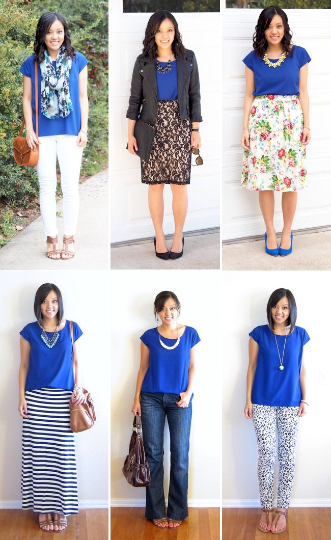 Bottom right -- love the solid top with patterned pant | Solid Colored Blouse - Ways to Wear a Cobalt Top
