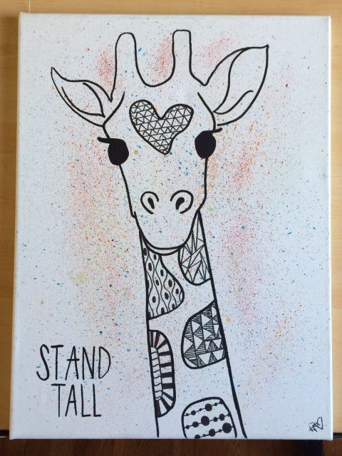 "Stand tall - giraffe // Acrylic and ink on 12"" x 16"" canvas"