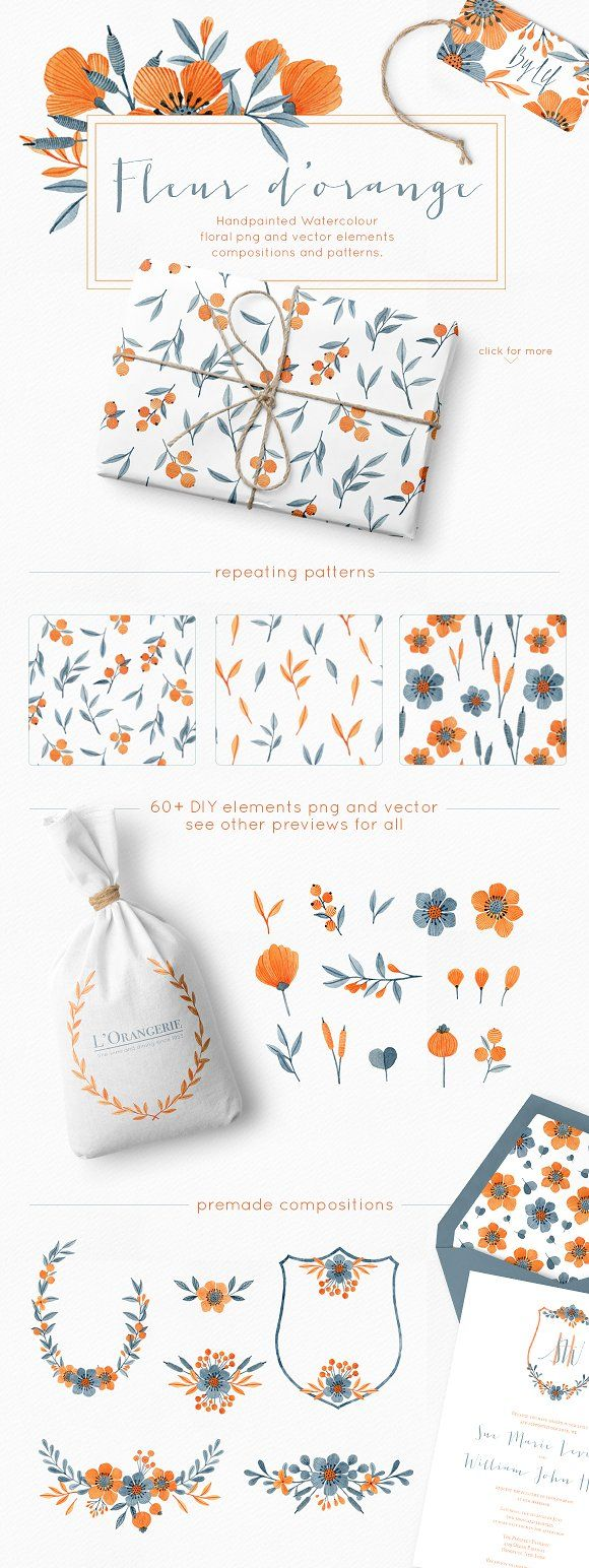 Floral Watercolor Graphics Bundle by By Lef on @creativemarket | A huge set filled with original handpainted floral graphics to mix and match to your heart's desire. | #floral #watercolor #graphics #blue #orange #illustration #clipart #flower #cards #stationary *affliate