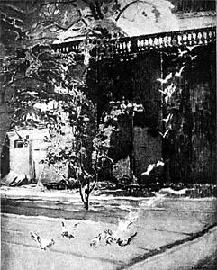 APOLONIUSZ KĘDZIERSKI (1861-1939)  Walls of the Carmelite Monastery in Warsaw II, 1922  Watercolour on paper 95 x 80  Sign. b.r.: A. Kędzierski  Owned by Stanisława Fijałkowska-Kędzierska, the artist's wife, in Warsaw.  Lost in August 1944.  Negative MNW no. 227749; photo from repr.  WAR020261
