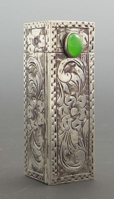 Engraved silver lipstick case with jade clasp and spring-action mirror, mid-20th C.