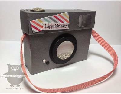 Instamatic Camera Box: Teeny Tiny Wishes stamp set, I Am Me DSP,  Silver Stampin' Glitter, Silver Foil paper, Rhinestone Basic Jewels, Neutrals Candy Dots, Vintage Brads, Bitty Banners Collection, Window Sheets, Calypso Coral Chevron Ribbon, Shaker Frames