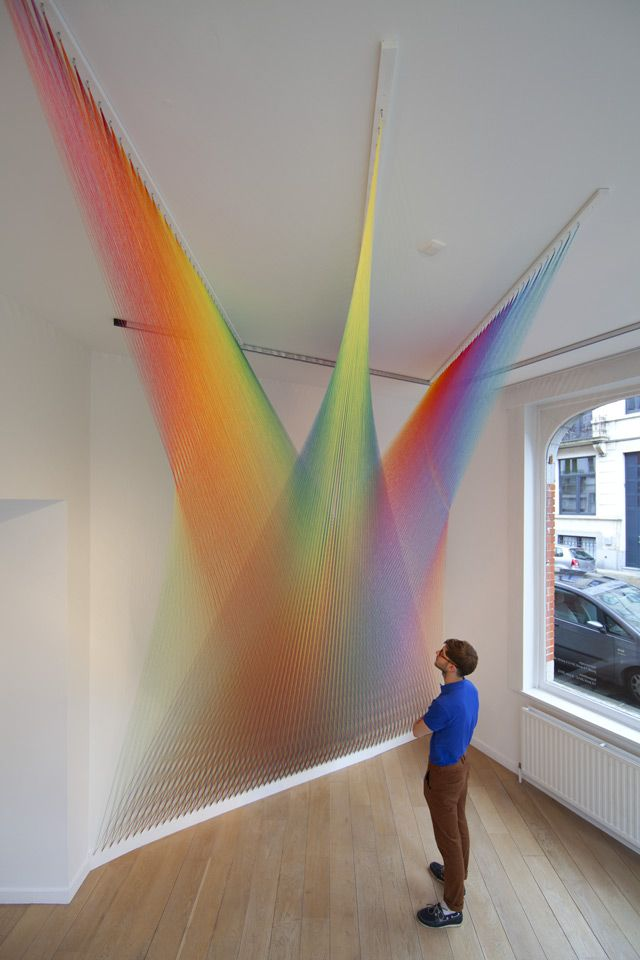 Paintings and Art / Unique like rainbow textile art in white interior