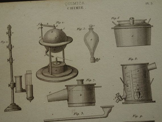 1852 CHEMISTRY print old pictures of equipment by DecorativePrints