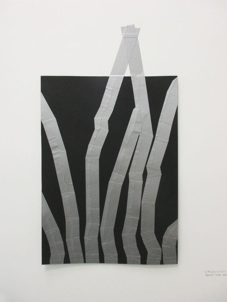 Carlo Colli, Recompose Black 2'11'', 2016, pittura nera strappata su carta e nastro americano grigio, 50x70cm. (interpretato nell'installazione dal gallerista  Piergiorgio Fornello di DieMauer a The Others Art Fair 2016, Torino)