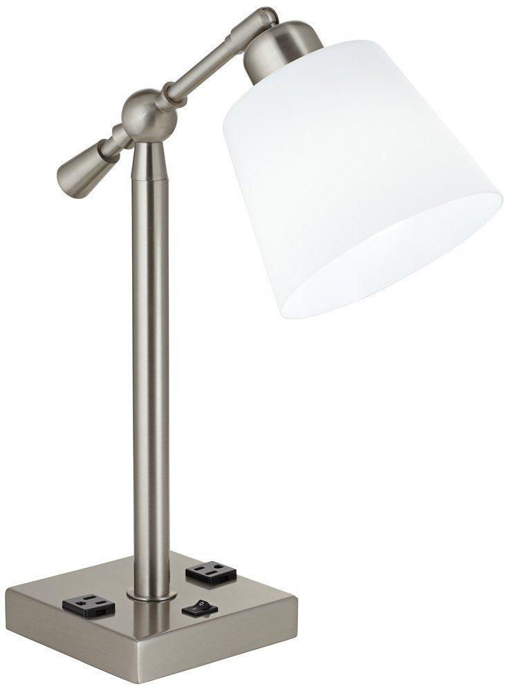 Courtland Brushed Steel Desk Lamp With Power Outlets Office Desk