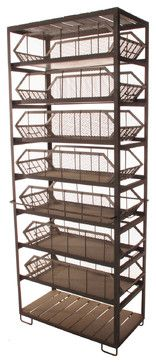 Industrial Loft Large Commissary Mesh Basket Storage Cabinet - eclectic - storage and organization - Kathy Kuo Home