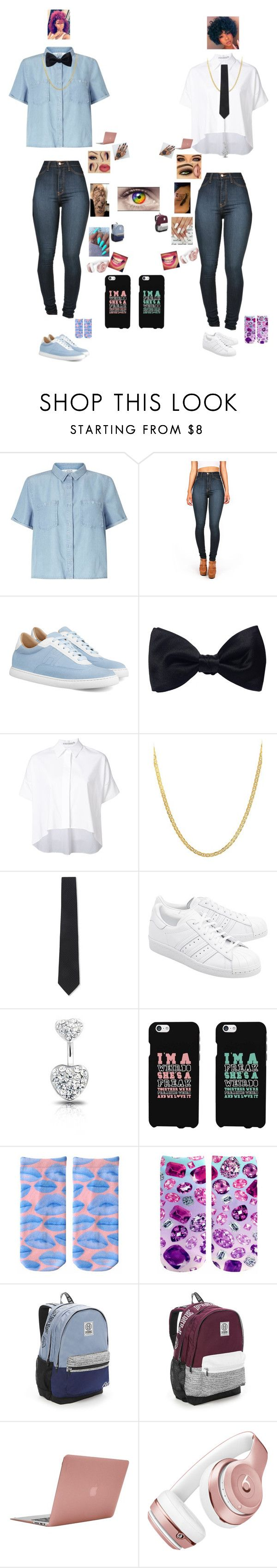 """""""We Tried to be Sophisticated😂😂✌🏽️"""" by unique374 ❤ liked on Polyvore featuring Miss Selfridge, Vibrant, Ike Behar, Alice + Olivia, Lord & Taylor, Armani Collezioni, adidas Originals, Bling Jewelry, Victoria's Secret and Incase"""