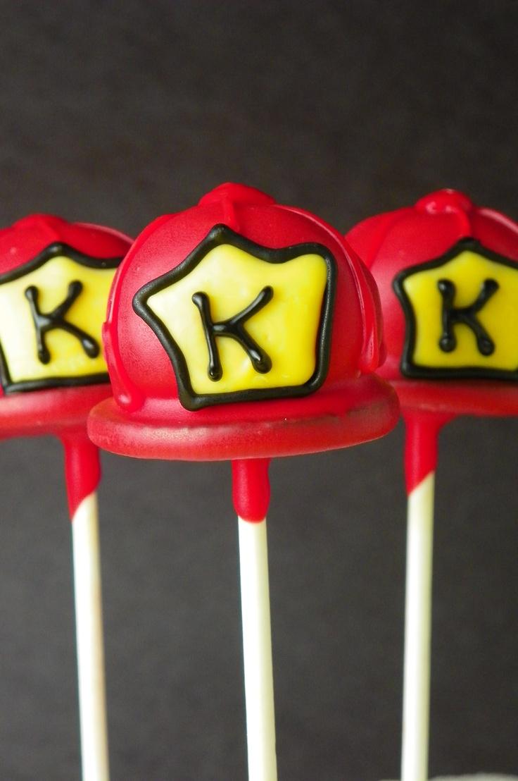 Fire Helmet Cake Pops