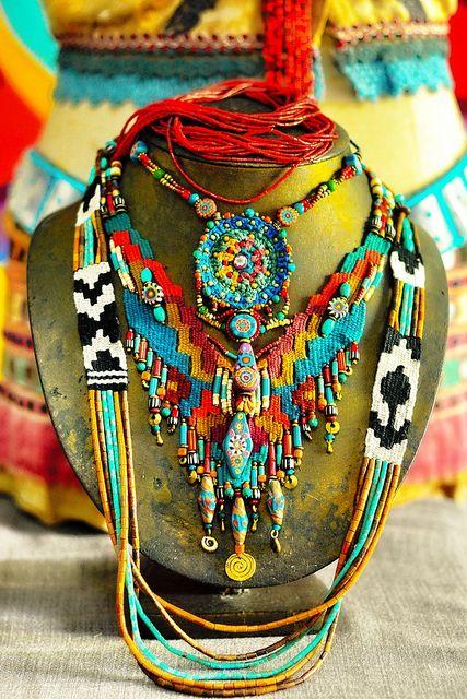 www.cewax.fr aime ce collier multi rang perles style ethnique tendance tribale ~ my creations ~ by AowDusdee, via Flickr #bohemian ☮k☮ #boho