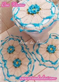 Artes da Desi: Jogo de Banheiro Flor Carmelia