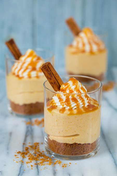 No Bake Pumpkin Cheesecakes with Salted Caramel Sauce