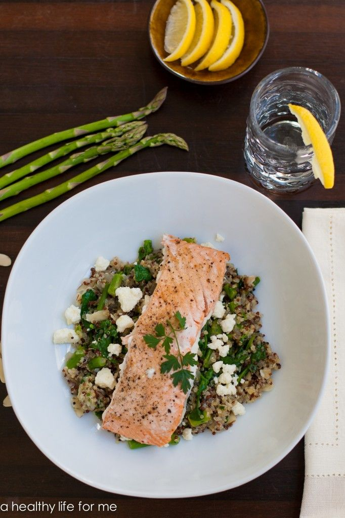 Salmon with Quinoa Feta and Spinach recipe is delicious, healthy and done in less than 30 minutes.