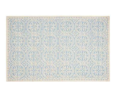 Alfombra de lana Marina, marfil y azul - 182x274 cm