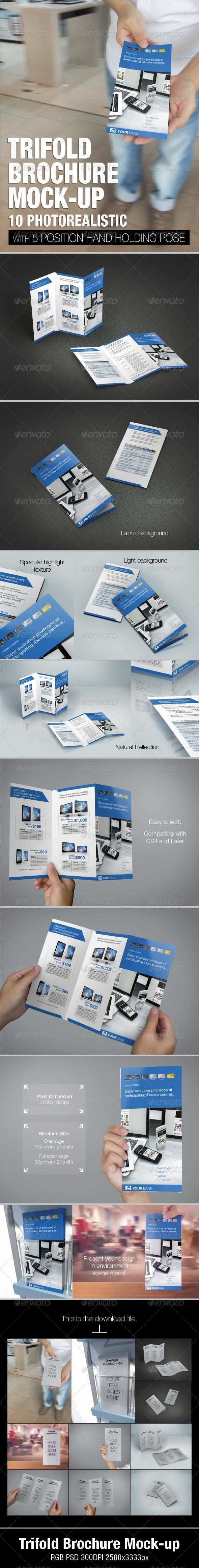 Trifold brochure mockup — Photoshop PSD #idevice #holding • Available here → https://graphicriver.net/item/trifold-brochure-mockup/5131050?ref=pxcr
