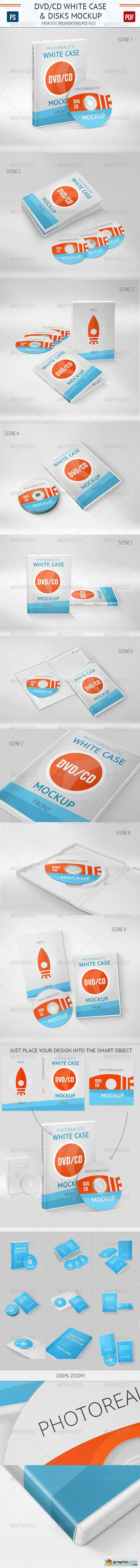 Realistic DVD/CD Mockup White Case & Disks
