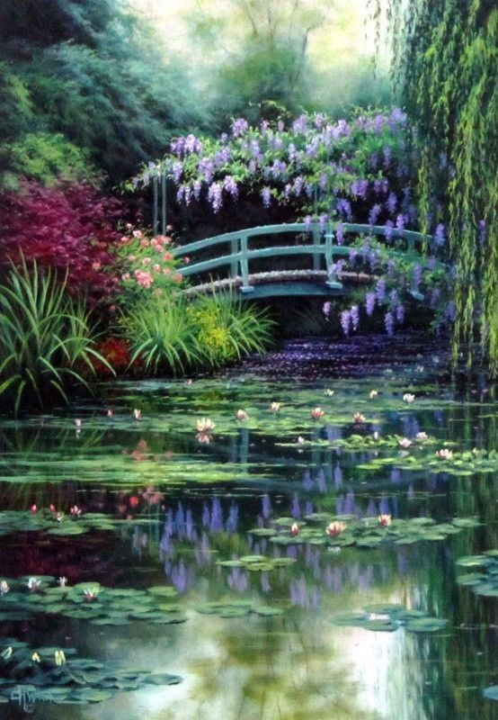 Artist Charles White has painted a lily pad covered, slow moving creek with a bridge connecting both sides of a brilliant flower garden.