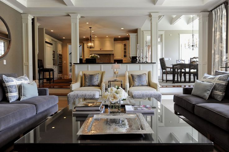 open living dinning kitchen but the set up is not As open as some and gives a sense of cosiness to the spaces.. traditional family room by kat robbins Interiors