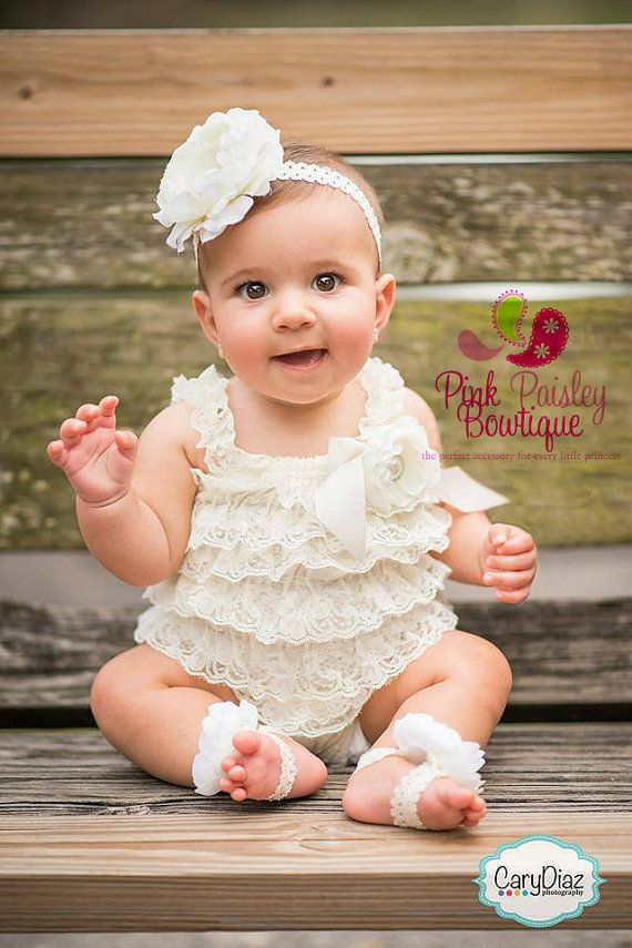 Baptism Outfit - 4 pc SET- Ivory Petti Romper- Baby Girl Rompers - Christening Dress- Lace Romper - Cream Baptism Dress - Lace Baby Romper on Etsy, $53.99
