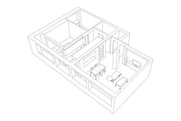 Wohnung minimalistischen Andreja Bujevac 21 schwarz-weiß (1) Grundriss Bauplan 3D-Darstellung