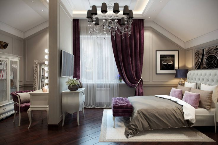 A classic cream and burgundy bedroom with lilac accents and a chandelier - pure opulence! by Design Studio Details                                                                                                                                                      More