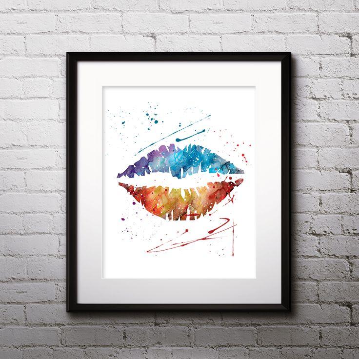 Lips Art Kiss Prints Watercolor illustration Paintings Posters Home Decor