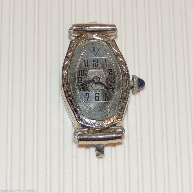 Vintage Ladies Art Deco Watch Solis Sapphire Blue Winding