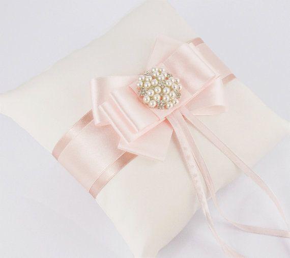 Wedding pillow / ring pillows  light pink ecru by DiamondDecor, $39.00