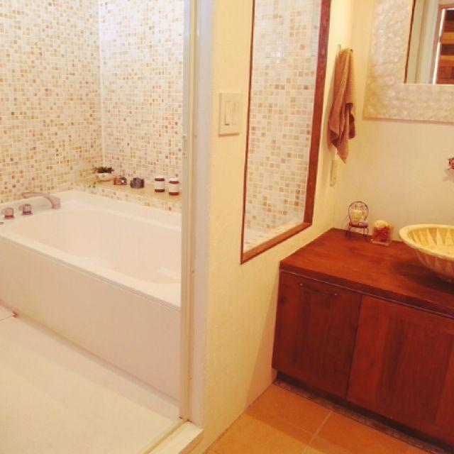 otamioさんの、バリ風,バスルーム,タイル,ハーフユニットバス,DIY,バス/トイレ,のお部屋写真